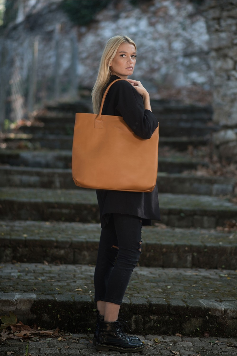 HANDMADE LEATHER COGNAC SHOPPING BAG