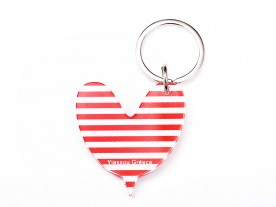 PLEXI GLASS RED 'HEART' KEYRING