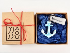 PLEXI GLASS LIGHT BLUE 'ANCHOR' KEYRING