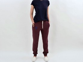 WOMEN'S STONEWASHED RED RELAXED FIT JOGGERS