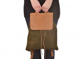 HANDMADE SUEDE LEATHER OLIVE BACKPACK
