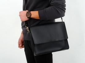 HANDMADE LEATHER MESSENGER BAG IN BLACK