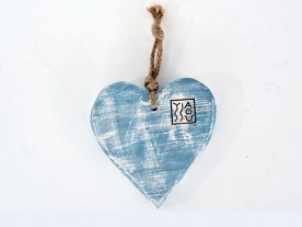 HANDMADE WOODEN BLUE 'HEART' DECOR