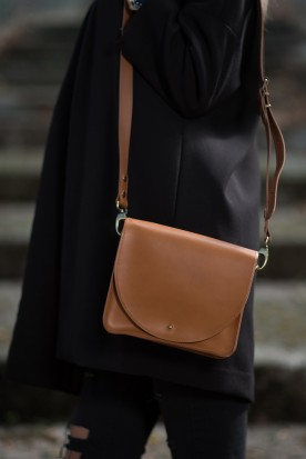 HANDMADE LEATHER COGNAC CROSSBODY