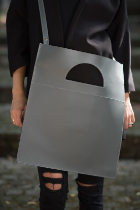HANDMADE LEATHER GREY TOTE BAG