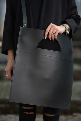 HANDMADE LEATHER BLACK TOTE BAG
