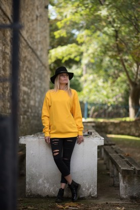 WOMEN'S SUNSHINE YELLOW CREWNECK SWEATSHIRT