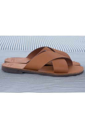 "WOMEN'S LEATHER ""X"" SANDAL COGNAC"
