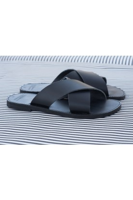 "WOMEN'S LEATHER ""X"" SANDAL BLACK"