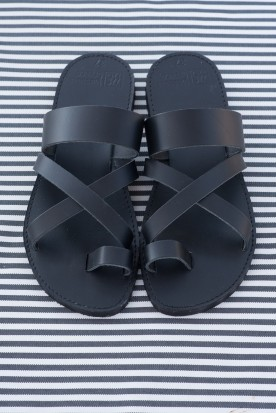 "WOMEN'S LEATHER ""LADIES SLIDE"" BLACK"