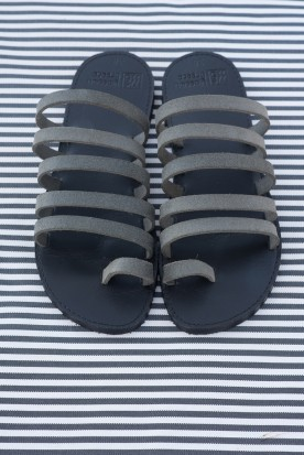 "WOMEN'S LEATHER ""SUEDE GREY STRIPES"""