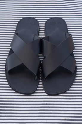 "MEN'S LEATHER ""X"" SANDALS BLACK"