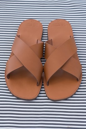 "MEN'S LEATHER ""X"" SANDALS COGNAC"