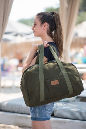 WAXED CANVAS WEEKENDER BAG DARK OLIVE