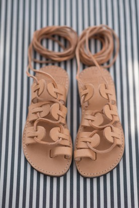 "KID'S  LEATHER SANDALS ""LACE UP"""