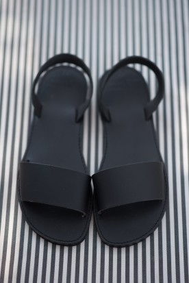 "WOMEN'S LEATHER  ""SLIDE SANDALS"" BLACK"