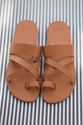 "WOMEN'S LEATHER ""LADIES SLIDE"" COGNAC"