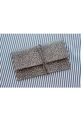 HANDMADE LEATHER ANIMAL PRINT CLUTCH