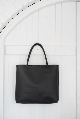 HANDMADE LEATHER BLACK SHOPPING BAG