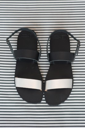 "WOMEN'S LEATHER SANDALS ""BLACK SILVER LACES"""