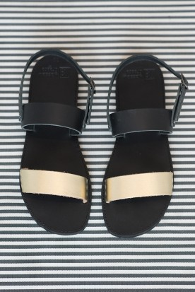 "WOMEN'S  LEATHER SANDALS ""BLACK GOLD LACES"""