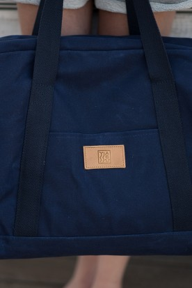WAXED CANVAS WEEKENDER BAG NAVY BLUE