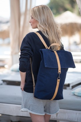 WAXED CANVAS BACKPACK NAVY BLUE