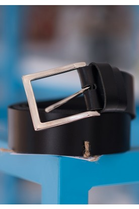 HANDMADE LEATHER BLACK BELT WITH SILVER BUCKLE