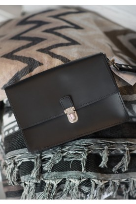 MEN'S HANDMADE LEATHER BLACK CLUTCH BAG