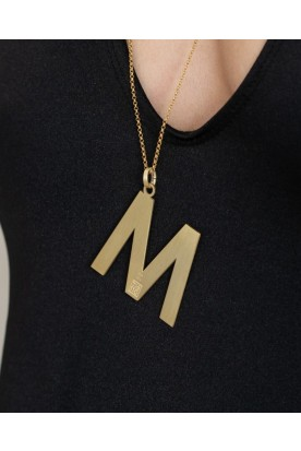 "HANDMADE STERLING SILVER MONOGRAM ""M"" NECKLACE GOLD PLATED"