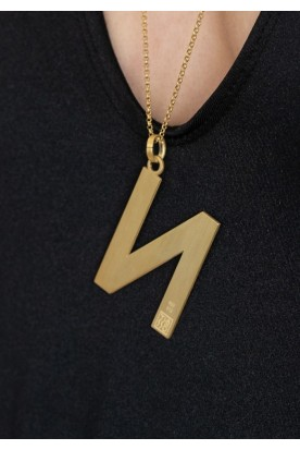 "HANDMADE STERLING SILVER MONOGRAM ""N"" NECKLACE GOLD PLATED"