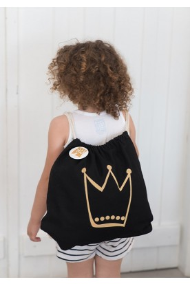 "THE ""CROWN"" POUCH IN BLACK"
