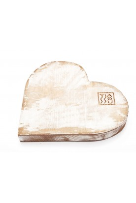 HANDMADE WOODEN WHITE 'HEART' DECOR