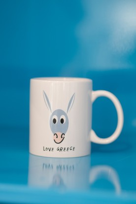 "THE WHITE ""GREEK DONKEY"" MUG"