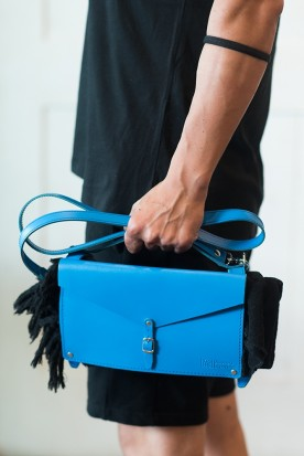 HANDMADE LEATHER MYKONIAN BLUE CROSSBODY TOWEL BAG