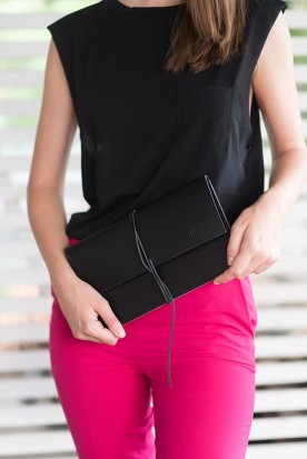 HANDMADE LEATHER BLACK CLUTCH
