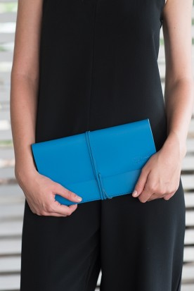HANDMADE LEATHER MYCONIAN BLUE CLUTCH