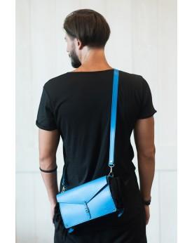 HANDMADE LEATHER MYKONIAN BLUE CROSSBODY TOWEL BAG