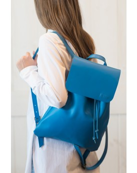 HANDMADE LEATHER MYKONIAN BLUE BACKPACK