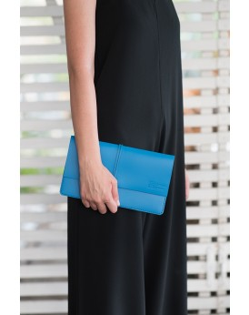 HANDMADE LEATHER MYKONIAN BLUE CLUTCH