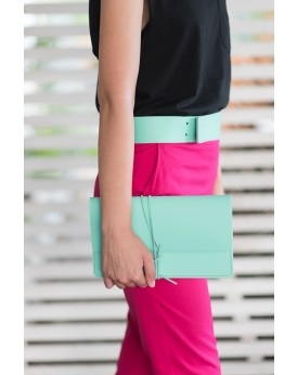 HANDMADE LEATHER PASTEL MINT CLUTCH