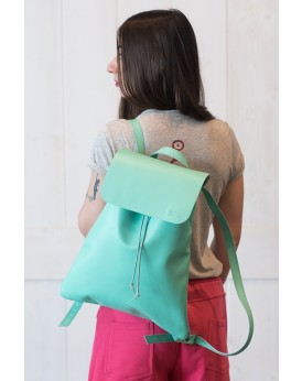 HANDMADE LEATHER PASTEL MINT BACKPACK